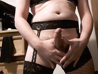 Sissy crossdresser cumming in lingerie