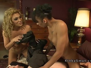 Three trannies anal punishing guy