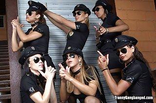 Tranny roleplay as police tgirls gangbang guys ass