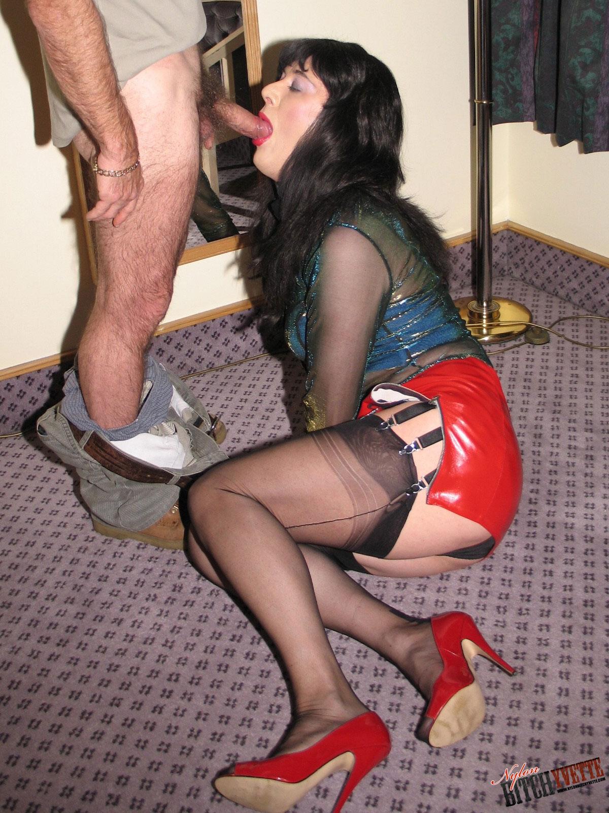 Crossdresser Doing Handjob Wearing Tight Pants