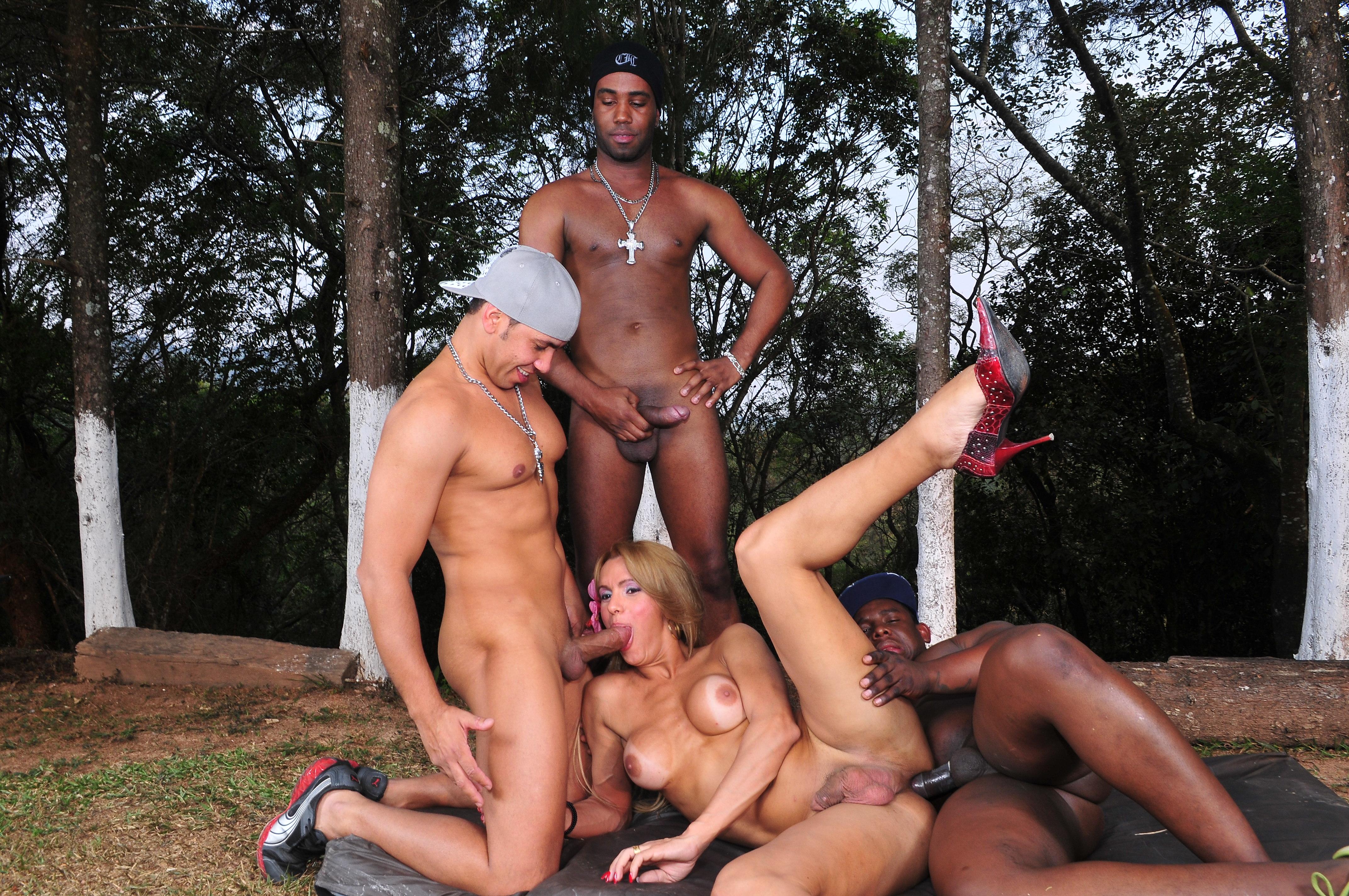 Outdoor interracial gangbang