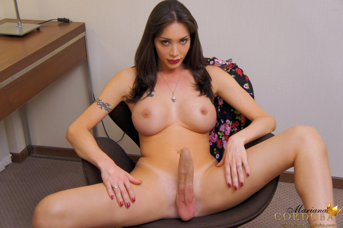 big tit shemale with erection photos - TS Mariana Cordoba plays with her massive erect shecock