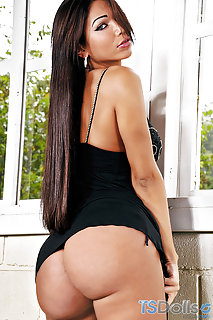 Bigtitted Dark Haired Tgirl Looks Bares Out Of Cocoa Miniskirt