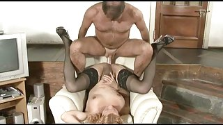 Blonde Tranny Curly-head Making Love With Guy