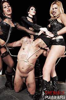 Enjoyment And Pain Around 3 Kinky Shemales