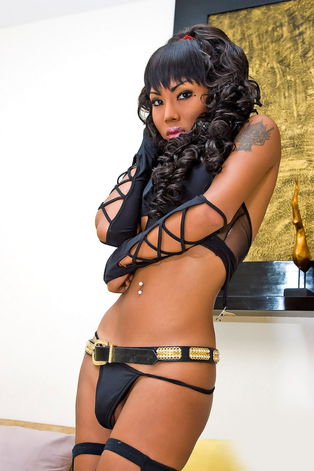 Ladyboy areeya in a one piece fishnet cat suit