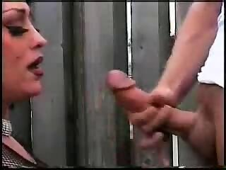Tranny in stockings gives a head