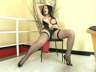 Brunette tgirl solo masturbation