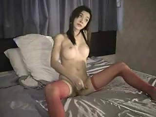 Tempting tranny in stockings solo