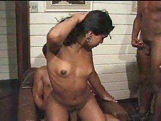 Interracial threesome with Latina Tgirl