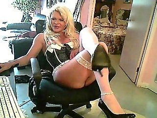 Blond Tgirl in stockings solo for webcam