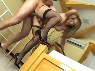 Slim T-Girl In Stockings Doggystyle Fucking