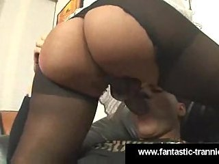 Yummy shemale in pantyhose works hard
