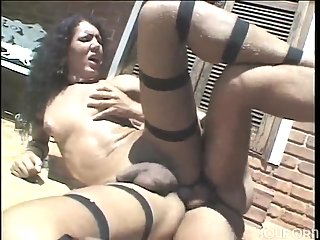 Latina shemale gets deep anal penetration outdoor
