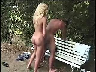 Filthy Blonde Nailing Guy In The Park
