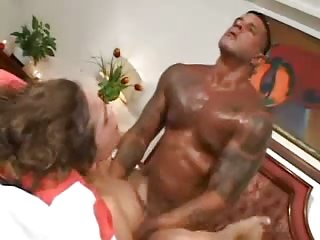 Ebony stud penetrates a titty TS with a great delight