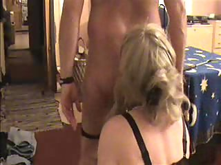 Homemade domination act with a TS in stockings