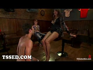 Busty tranny Yasmin Lee bounds two guys in bar