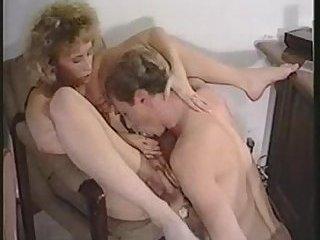 Blond vintage tranny drills a guy