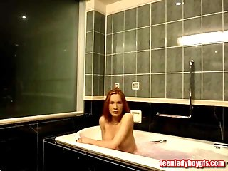 Redhead Tranny Taking A Bubble Bath