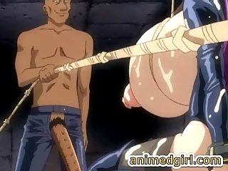 Chained shemale hentai maid with super huge boobs blowjob
