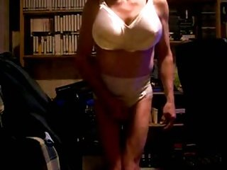 Crossdresser shows his body