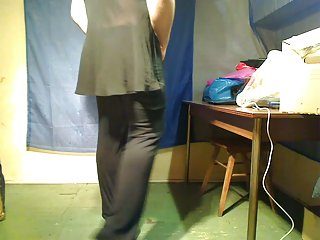 Fat crossdresser amateur striptease and cum