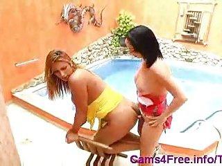 Two lustful trannys fucking & creaming near pool