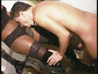 Ebony busty tgirl fucks white guy strongly