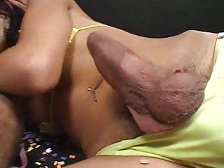 Graceful weakly t-girl & guy with monster tool hot nailing