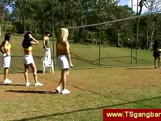 Sporty shemales start gangbang outdoor