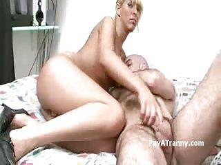 Horny Blonde tgirl fucking skull