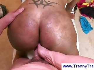 Ebony transsexual gets fingered anally