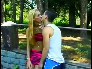 Stuffing A Blonde TS Hooker Outdoors