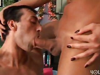 Sexy Shemale slut cumming on her friends cock