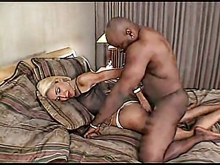 Teasing Blonde tranny gets huge black dong