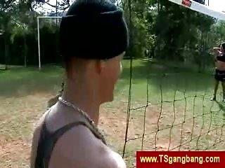 TS gangbang outdoors