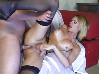 Tranny In Black Stockings Drilled