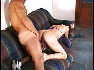 Drilled Ladyboy on the sofa