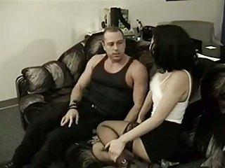 Messy TS sluts share one cock