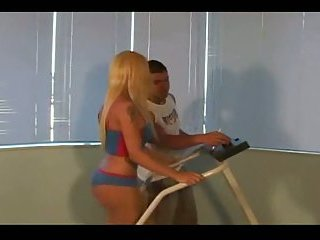 Blonde shemale ass fucked after training