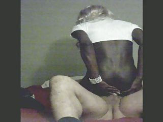 Amateur Black Crossdresser Rides White Dick