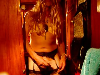 Homemade mature crossdresser jerking off