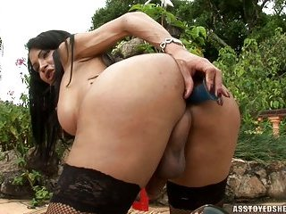 Filthy Brunette In Stockings Outdoor Toy Fun