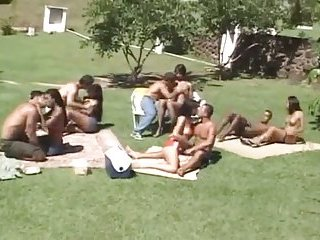 Horny outdoor orgy