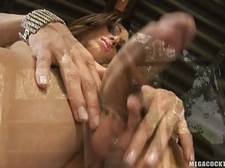 Isabelly strokes huge cock