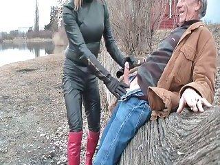 Hot mature Tgirl sucking cock outdoor