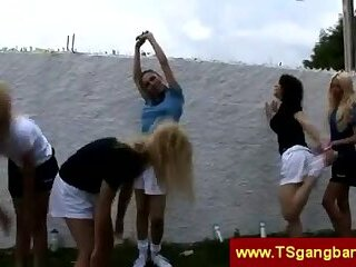 Trannies do outdoor exercise