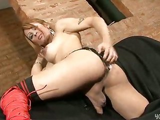 Sexy tranny with big boobs pounded hard