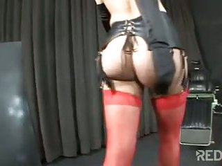 Mutual ass fucking with tranny in stockings